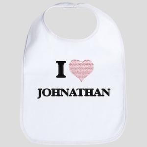 I Love Johnathan (Heart Made from Love words) Bib