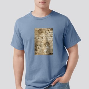 Rustic Vintage Country Floral Wood Romanti T-Shirt