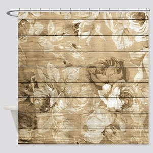 Rustic Vintage Country Floral Wood Shower Curtain