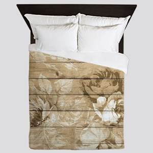 Rustic Vintage Country Floral Wood Rom Queen Duvet