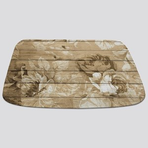Rustic Vintage Country Floral Wood Romanti Bathmat