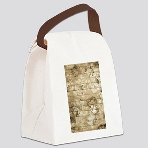 Rustic Vintage Country Floral Woo Canvas Lunch Bag