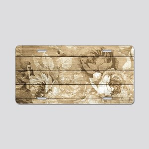 Rustic Vintage Country Flor Aluminum License Plate
