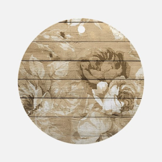 Rustic Vintage Country Floral Wood Round Ornament