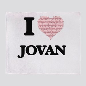 I Love Jovan (Heart Made from Love w Throw Blanket