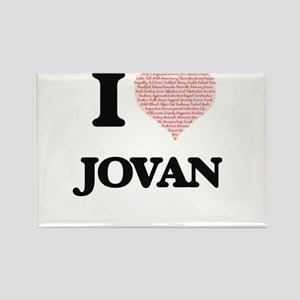 I Love Jovan (Heart Made from Love words) Magnets