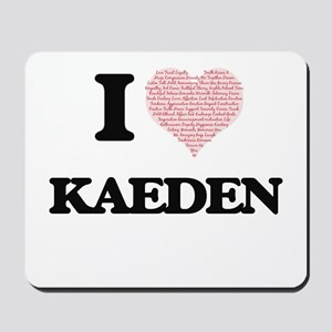 I Love Kaeden (Heart Made from Love word Mousepad