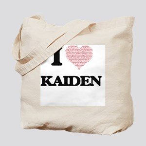 I Love Kaiden (Heart Made from Love words Tote Bag