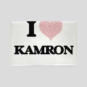 I Love Kamron (Heart Made from Love words) Magnets