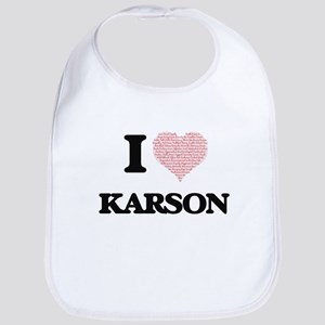 I Love Karson (Heart Made from Love words) Bib
