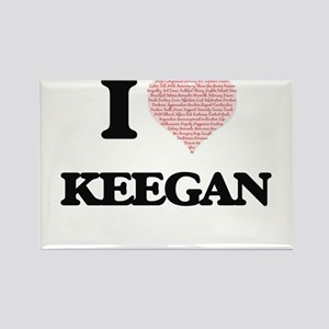 I Love Keegan (Heart Made from Love words) Magnets