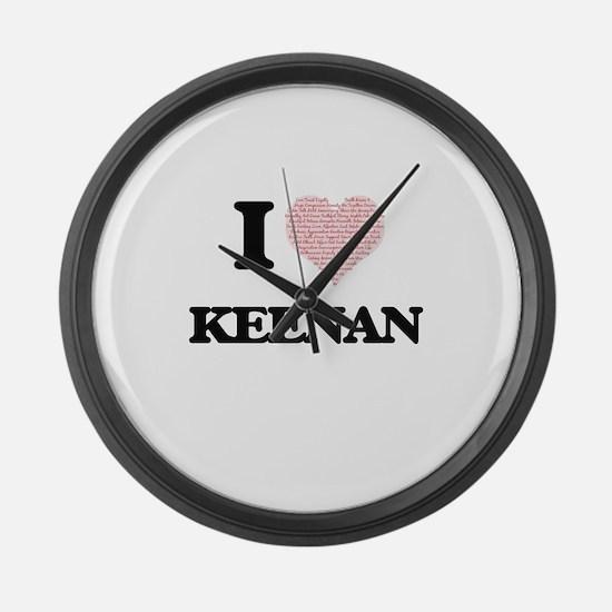 I Love Keenan (Heart Made from Lo Large Wall Clock