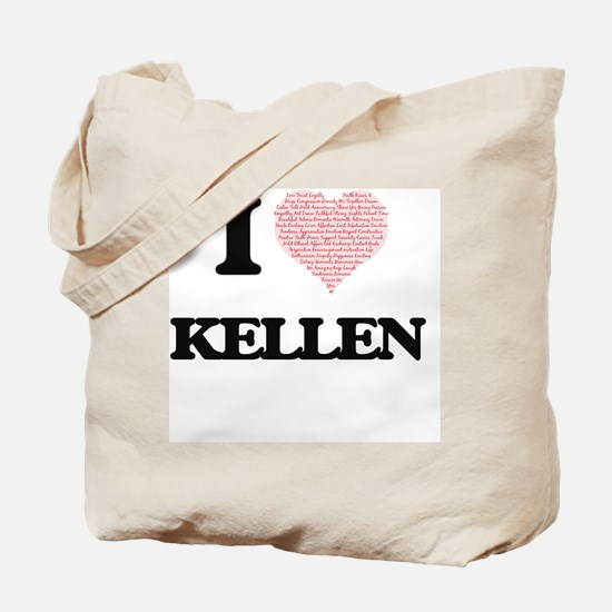 I Love Kellen (Heart Made from Love words Tote Bag
