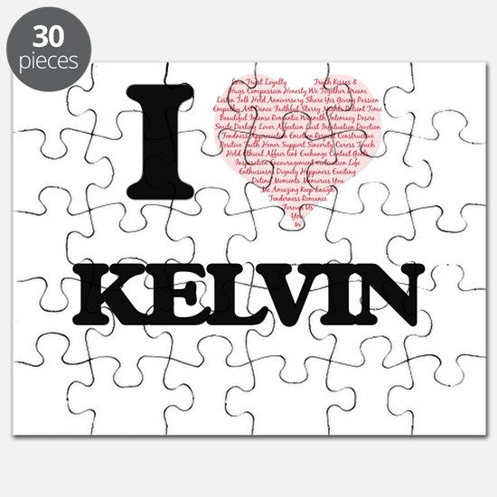 I Love Kelvin (Heart Made from Love words) Puzzle