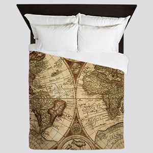 Ancient Map Queen Duvet