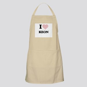 I Love Keon (Heart Made from Love words) Apron
