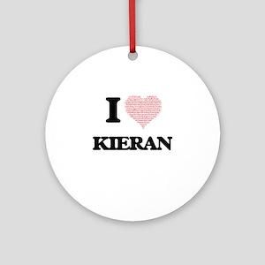 I Love Kieran (Heart Made from Love Round Ornament