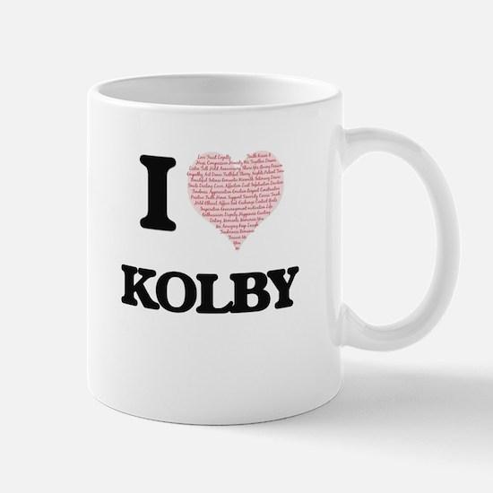 I Love Kolby (Heart Made from Love words) Mugs