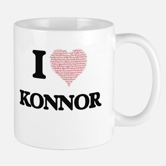 I Love Konnor (Heart Made from Love words) Mugs