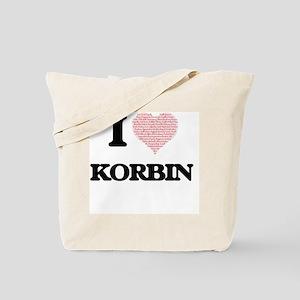 I Love Korbin (Heart Made from Love words Tote Bag