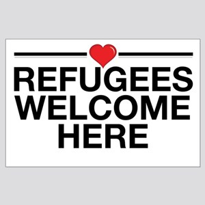 Refugees Welcome Here Posters Large Poster