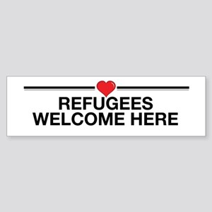 Refugees Welcome Here Bumper Sticker
