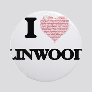I Love Linwood (Heart Made from Lov Round Ornament