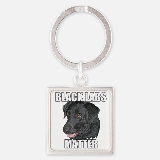 Black Labs Matter Two Square Keychain