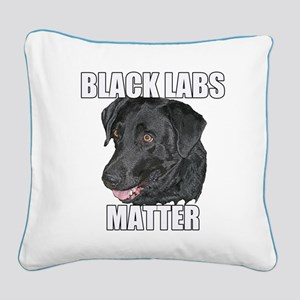 Black Labs Matter Two Square Canvas Pillow