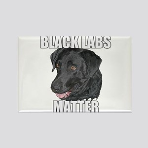 Black Labs Matter Two Rectangle Magnet