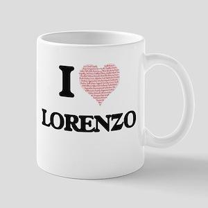 I Love Lorenzo (Heart Made from Love words) Mugs