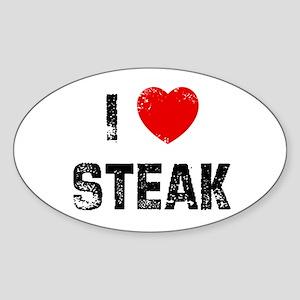 I * Steak Oval Sticker