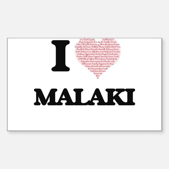I Love Malaki (Heart Made from Love words) Decal