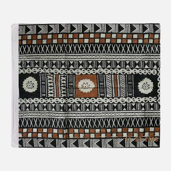 Tribal Masi Tapa Cloth Print Throw Blanket