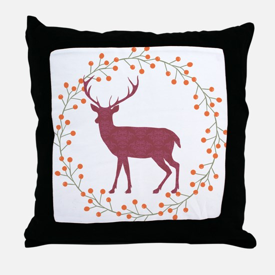 Red Stag Throw Pillow