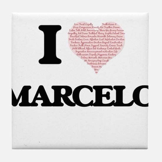 I Love Marcelo (Heart Made from Love Tile Coaster