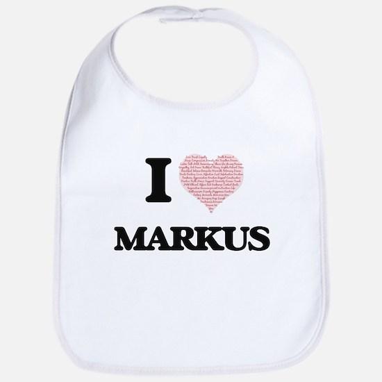 I Love Markus (Heart Made from Love words) Bib