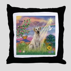Cloud Angel & Yellow Lab Throw Pillow
