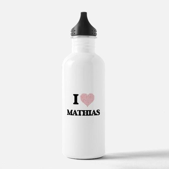 I Love Mathias (Heart Water Bottle