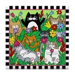 8 Cats & Flowers Tile Coaster