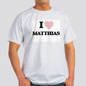I Love Matthias (Heart Made from Love word T-Shirt