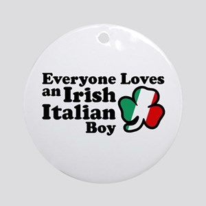 Everyone Loves an Irish Italian Boy Ornament (Roun