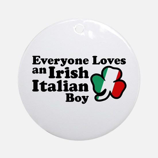 Everyone Loves an Irish Italian Boy Ornament (Roun