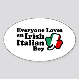 Everyone Loves an Irish Italian Boy Oval Sticker
