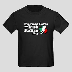 Everyone Loves an Irish Italian Boy Kids Dark T-Sh