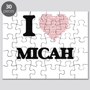 I Love Micah (Heart Made from Love words) Puzzle
