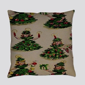 Little Girl Chistmas Trees Everyday Pillow