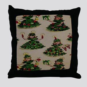 Little Girl Chistmas Trees Throw Pillow