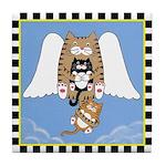 Cat Angel & 2 Kittens Tile Coaster