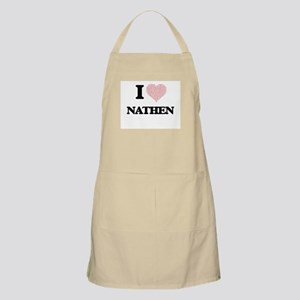 I Love Nathen (Heart Made from Love words) Apron